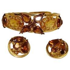 Vintage Hinged Bracelet and Earrings Set - Crystal Demi Parure
