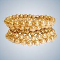 Vintage MIRIAM HASKELL Baroque Pearl Bracelet - Cuff Wrap Bracelet – 5 RowsGlass Pearl Bracelet