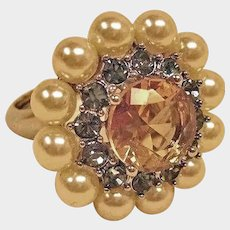 Vintage Estate Jewelry - Adjustable RING Rhinestones and Glass Pearls - Cluster Ring from 1970's