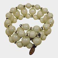 Vintage Estate Jewelry MIRIAM HASKELL White Milk Glass Bracelet - Cuff Bead Coil Memory Wire