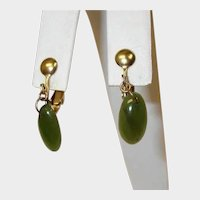 Vintage Petite Dangle Drop Earrings - Faux Jade Green Earrings - Clip-On Earrings