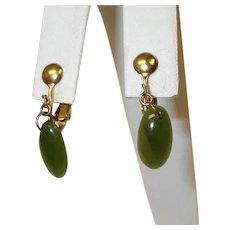 Vintage Petite Dangle Drop Earrings - Faux Jade Green Earrings - Clip-On Earrings