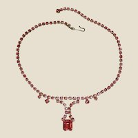 Vintage KRAMER of New York Rhinestone Necklace - Hot Pink