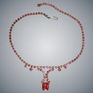 KRAMER of New York Rhinestone Necklace - Vintage Hot Pink Rhinestone Choker Necklace