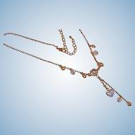 Vintage Rivoli Rhinestone Necklace with Dangling Rhinestone Heart - Estate Jewelry