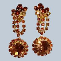 Vintage Light and Dark Topaz Rhinestone Dangle Drop Earrings - Clip On Earrings