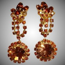 Vintage Light and Dark Topaz Rhinestone Dangle Drop Earrings