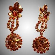 Vintage Light and Dark Topaz Rhinestone Dangle Drop Earrings