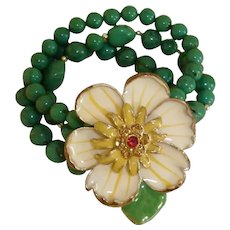 Vintage Green Glass Beads and Rhinestones Bracelet - with a Large Flower