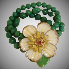 40% off - Vintage Green Glass Bracelet with HUGE Flower