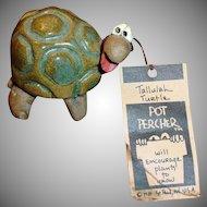 Vintage POTTERY Tallulah Turtle Pot Percher- Plant Decoration Pot Sitter