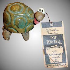 Vintage POTTERY Tallulah Turtle Pot Percher- Plant Decoration Pot Sitter
