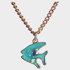 Signed Sarah Coventry Necklace - Child's Fish Charm Pendant Necklace - Enamel Fish Necklace - Beach Jewelry - Kids Jewelry
