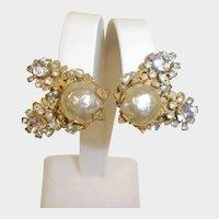 RARE Miriam Haskell Glass Baroque Pearl and Rhinestone Earrings
