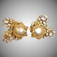 RARE Miriam Haskell Glass Baroque Pearl and Rhinestone Earrings – Vintage HASKELL Jewelry