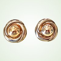 Vintage Extra-Large Pierced Post Earrings - Gold Tone and Silver Tone Mixed