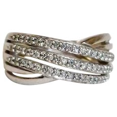 Estate Sterling Silver Cross-Over Bands RING - Cubic Zirconia Ring - Sz 7 - 4.5 grams