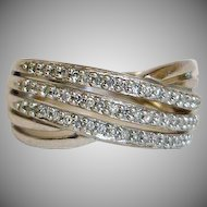 Estate Diamond Ring - Sterling Silver Three Band Diamond Ring - Sz 7 - 4.5 grams