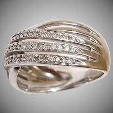 Estate Sterling Silver Cross-Over RING - Cubic Zirconia Ring - Sz 7 - 4.5 grams