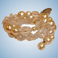 Vintage MIRIAM HASKELL Glass Baroque Pearl and Crystal Wrap Bracelet – Miriam Haskell Estate Jewelry