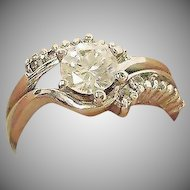 Estate Sterling Silver Cubic Zirconia Bypass Ring - Size 6.5 US