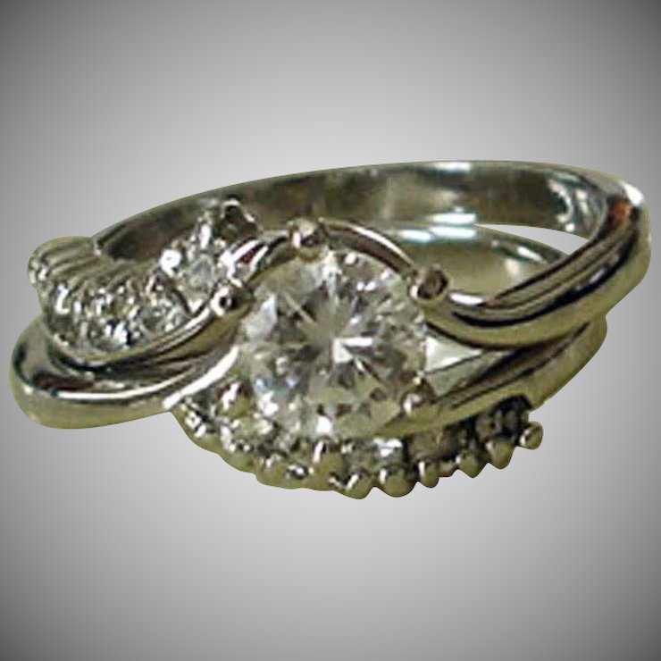 Estate Wedding Ring Set Sterling Silver Cubic Zirconia Byp Size 6 5 Signed