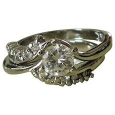 Estate Wedding Ring Set - Sterling Silver Cubic Zirconia Bypass Ring - Size 6.5