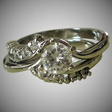 Estate Wedding Ring Set - Sterling Silver Cubic Zirconia Bypass Ring - Size 6.5 - Signed DAC