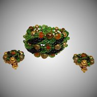 Vintage Haskell Style Demi Parure Jewelry - Beaded Art Glass Bracelet and Earrings Set