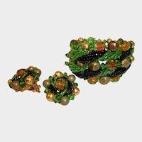 Estate Haskell Style Beaded Art Glass Bracelet and Earrings Set - Vintage Demi Parure Jewelry