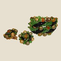 Vintage Haskell Style Beaded Art Glass Bracelet and Earrings Set - Demi Parure