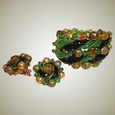 Vintage Haskell Style Beaded Art Glass Bracelet and Earrings Set - Demi Parure