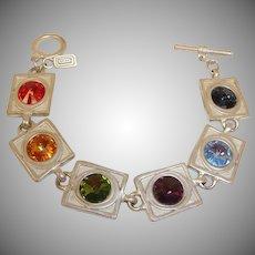 Jackie Spector Modernist Multi-Color Rhinestone BRACELET - Rivoli Crystal Rhinestones