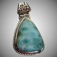 Larimar and Sterling Silver Necklace Pendant or Charm