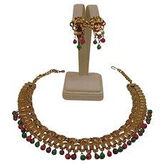 Vintage Cleopatra Egyptian Revival Set - Glass Fruit Salad Necklace and Earrings Set - Book Chain Bib Demi Parure