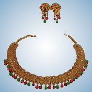 Vintage Cleopatra Egyptian Revival Set - Glass Fruit Salad Necklace and Earrings Set - Book Chain Bib Demi Parure