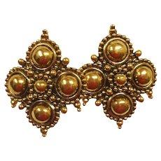 Vintage Gold Tone Barrera Runway Earrings - Barrera by Avon Earrings - Adriatic Collection