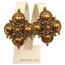 HUGE Gold Tone Clip-on Earrings - Barrera by Avon Earrings - Adriatic Collection