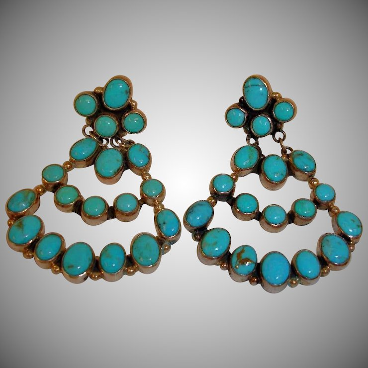 Native American Nakai Dangle Drop Turquoise Earrings Vintage Indian Chandelier Navajo