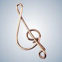 Edwardian Musical Treble Clef Pin - Gold Fill Lapel Pin