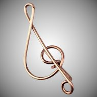 Edwardian Musical Treble Clef Pin - Gold Fill Lapel Pin