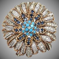 Vintage  PANETTA Rhinestone and Turquoise Brooch - Tiered Flower Brooch Pin