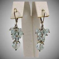 Blue Dangle Drop Pierced Earrings -  Estate Pierced Earrings