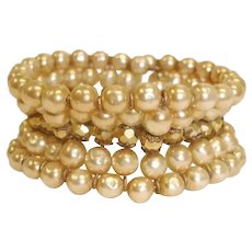 Vintage MIRIAM HASKELL Baroque Pearl Bracelet - 1950's Cuff Wrap Bracelet – 5 Rows Flexible Bracelet