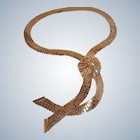 SALE - Vintage Gold Plated Mesh Necklace - Rau Fastener Co Necklace