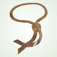 SALE - Vintage Gold Plated Mesh Necklace - Rau Fastener Co Necklace