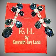 Vintage KJL Shoulder Duster Earrings - Kenneth Jay Lane Crystal Dangle Drop Chandelier Earrings - With Bag and Box