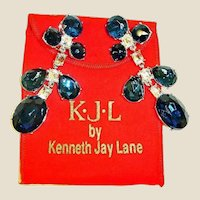 30+% OFF - Vintage KJL Shoulder Duster Earrings - Kenneth Jay Lane Crystal Dangle Drop Chandelier Earrings - With Bag and Box