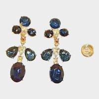SALE--- Vintage KJL Shoulder Duster Earrings - Kenneth Jay Lane Crystal Dangle Drop Chandelier Earrings - Silver Tone Rhodium Plated