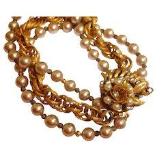 Vintage Miriam Haskell Bracelet – Glass Pearl and Seed Bead Pearl Bracelet